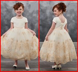 Gold Shirts For Girls Australia - Modest Gold Lace 2019 Flower Girls Dresses For Wedding Tulle Short Sleeves Backless Satin Applique Little Girl First Communion Dress