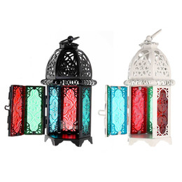 lamp holder chandelier UK - 16.5x7cm Vintage glass moroccan decoration flashlights hollow candlelight chandelier windproof candle holder for home decoration wedding