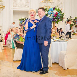 royal blue mother wedding dress Australia - Royal Blue Long Sleeve Mother of The Bride Dresses Illusion Bodice Lace Chiffon Long Women Evening Party Gowns Mother Wedding Guest Gowns