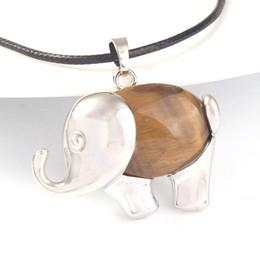 Eye Shaped Pendants Australia - Trendy-beads Unique Silver Plated Elephant Shape Natural Tiger Eye Stone Pendant Animal Jewelry