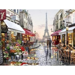 Discount street painting canvas Europe City Street Painting By Numbers DIY Handpainted Christmas Gift Abstract Coloring By numbers On Canvas Wall Decor