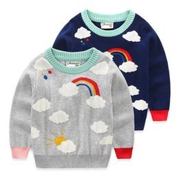 $enCountryForm.capitalKeyWord Australia - New Kids baby girl sweaters Cute Clothing boys Knitted coat Cloud Pattern Children Autumn Pullover Full Sleeve Sweaters Rainbow
