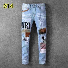Wholesale jean hole style for sale – denim 2019 top quality amiri Jeans famous brand designer jeans men fashion street wear mens biker jeans man pants