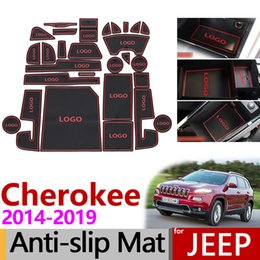 $enCountryForm.capitalKeyWord Australia - Anti-Slip Rubber Cup Cushion Gate Slot Mat for Jeep Cherokee KL 2014 2015 2016 2017 2018 2019 Accessories Stickers Car Styling