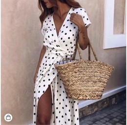 $enCountryForm.capitalKeyWord Australia - Fashion- design summer dress large size womens clothes short-sleeved V-neck low-cut printing wave dresses long skirts woman clothing