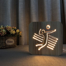 Wooden Bedside Tables Australia - Playing Volleyball Shape Night Light Nordic Wooden LED Table Lamp for Bedroom Warm White USB Power Supply Bedside Night Lamp