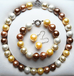 $enCountryForm.capitalKeyWord Australia - Beautiful 10mm Natural mixed White pink purple shell Pearl Necklace Bracelet Earrings Bead women Jewelry set 925 silver clasp