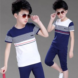 White Shorts Australia - 2018 Boys Summer Clothing Set Fashion Casual Sports Short Sleeve Cotton Children Clothes Sets Color Navy   White 120-160 J190513