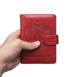 $enCountryForm.capitalKeyWord UK - Russian Leather Rfid Blocking Passport Holder Wallet Cover Travel Document Organizer Case For Men Women With Credit Card Slots
