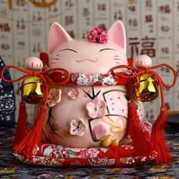 Lucky Decor Australia - 8inch Ceramic Maneki Neko Ornament Pink White Lute Design Lucky Cat Money Box Figurine Home Decor Fortune Cat with Bell