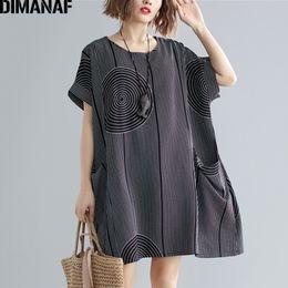 Plus Size Batwing Printed Shirt Australia - Dimanaf Plus Size Women T-shirts Lady Tops Tees Big Size Vintage Female Clothing Print Striped Loose Batwing Shirts 2019 Summer Y19060601