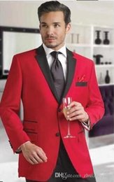 $enCountryForm.capitalKeyWord Australia - High Quality Red Groom Tuxedos Two Pieces Groomsmen Suit Notch Lapel Cheap Custom Made Man Blazer Mens Wedding Suits (Jacket+Pants+Tie)