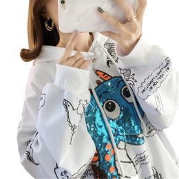 korean hoodie ladies UK - Winter harajuku hoodies women long sleeve korean hoodie ladies dinosaur graffiti print pullover tops clothes 2019 sweatshirt