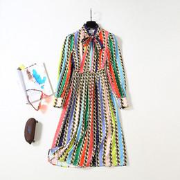 $enCountryForm.capitalKeyWord Australia - 2019 Summer Fall Long Sleeve With Ribbon Tie-Bow Mid-Calf Dress Round Neck Striped Chains Print Luxury Runway Dresses JL2419A2-7