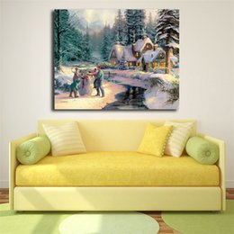 China Thomas Kinkade Holiday At Winter Glen HD Wall Art Canvas Poster And Print Painting Decorative Picture For Office Bedroom Home Decor Artwork supplier decorative pictures for bedrooms suppliers