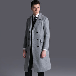 British wool clothing online shopping - British style men s wool coat men trench Brand Clothing Turn down Collar Wool Blend Double Breasted Pea Coat Plus Size S XL