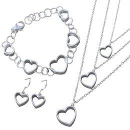$enCountryForm.capitalKeyWord Australia - Fashion Silver Jewelry Set Women Hollow Heart Necklace Hook Earrings Bracelet Jewelry Set Wedding Bridal Party