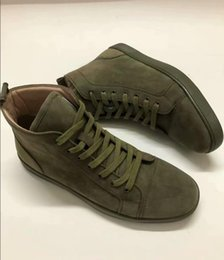 Discount gentleman shoes - 3A New mens womens high top green suede red bottom casual shoes,fashion gentleman designer lace-up sneakers size 36-46 6