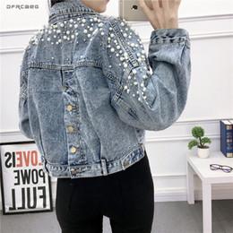 Vintage Kadınlar Jean Ceket Witrh Inciler Boncuk 2019 Bahar Uzun Kollu Cepler Denim Ceketler Kadın Gevşek Dış Giyim Kadın T5190612 indirimde