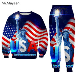 Discount tracksuits men usa Hipster Streetwear 3D Print American Flag USA Statue of Liberty Sweatshirts Long Pants Women men Tracksuits Casual Jogger Pants T200411