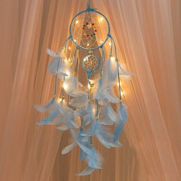 diy wind chimes Australia - 2 Meters Lighting Dream catcher hanging DIY 20 LED lamp Feather Crafts Wind Chimes Girl Bedroom Romantic Hanging decoration gift