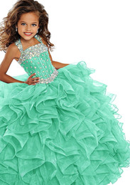 $enCountryForm.capitalKeyWord Australia - Girl's Ball Gown Tulle Dresses Spaghetti Light Blue Dress with Stars Tiered Ruffle Girl's Pageant Dresses Kids Formal Wear