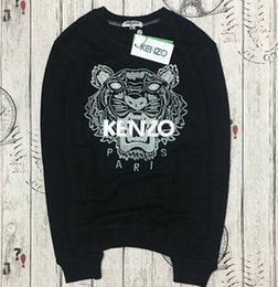 Wholesale the best quality K Z Prais brand Embroidered tiger head logo sweater O Neck pullover Terry sweatershirt jimpers original