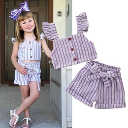 $enCountryForm.capitalKeyWord Australia - Hot Sale Fashion Kids Sets Ruffles Tops+bow Pants Summer Girl Two Piece Set Sleeveless Children Purple Striped Sets