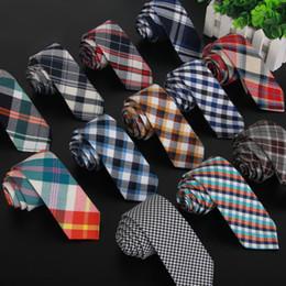 Wholesale Cotton Ties NZ - SHENNAIWEI High quality plaid men cotton and fabric linen cloth tie 5.5cm skinny necktie brand 2017 luxury gravata slim lot
