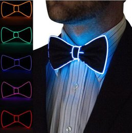 tying wire UK - Newest Men LED Wire Necktie Bowtie Flashing Light Up El Wire Bow Tie Necktie LED Mens Lights Bowtie Wedding Glow Party Supplies