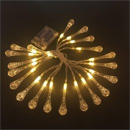 christmas lights drops UK - Sxi Battery Operated Led Glaze Water Drop Icicle String Light Waterproof Warm White 5m 20 Lights Led Christmas Fairy Light