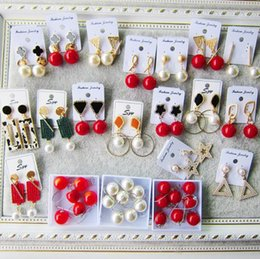 indian hot models UK - New fashion hot sale random 1 pack 3 wholesale earrings female temperament personality hipster autumn and winter models large pearl red bead