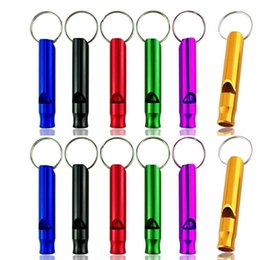 Wholesale Aluminum Alloy Whistle Keyring Keychain Mini For Outdoor Emergency Survival Safety Sport Camping Hunting random color MMA1801