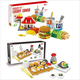 Delicious gift online shopping - Hamburger Sushi Mooncake Delicious Food Model Diamond Block Creator Series Building Blocks Gift Micro Bricks For Puzzle Kid Toy
