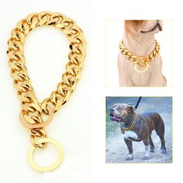 "$enCountryForm.capitalKeyWord NZ - Dog Supplies 12-22"" Dog Gold Chain Collar 13mm Wide Tone Double Curb Cuban Rombo Link 316L Stainless Steel Wholesale Pet Jewelry"