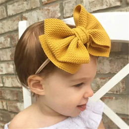 toddler hair wraps NZ - Cute Big Bow Hairband Baby Girls Toddler Kids Elastic Headband Knotted Nylon Turban Head Wraps Bow-knot Hair Accessories GFJ716