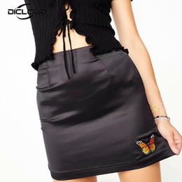 Wholesale a line skirts for sale - Group buy Vintage Retro Ins Hot Streetwear Butterfly Splices Black Satin A Line Skirt Women High Waist Fitness Mini Skirts Brand Punk Jupe