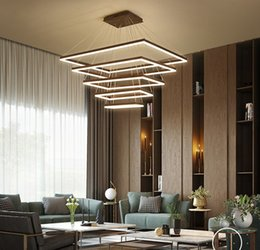 Brushed Aluminum Lights Australia - Brushed Coffee Finish Modern LED pendant lights for living room dining room rectangle acrylic aluminum pendant lamp fixtures LLFA