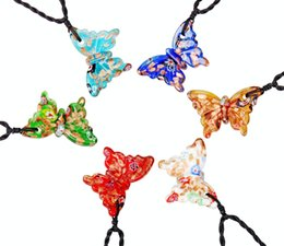 China Animal Butterfly Multi-Color Millefiori Murano Glass Silver foil Weaving Pendants Necklaces Wholesale Retail Fashion Jewelry FREE #ng85 suppliers