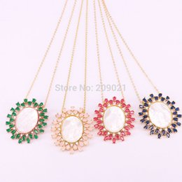 $enCountryForm.capitalKeyWord Australia - New Arrival 5pcs Fashion Micro Pave Cz Zirconia Shell Virgin Mary Pendants Beads, Gold   Silver Color Chians Necklace J190530