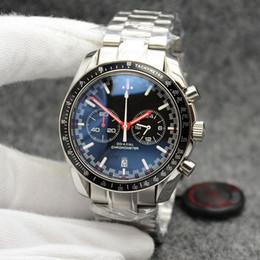 venda por atacado High Grade 44MM Quartz Chronograph Mens Relógios mãos vermelhas pulseira de aço inoxidável fixo Bisel Com Um Anel Top Mostrando Tachymeter Marcas