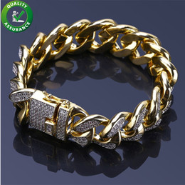 Wholesale Mens Bracelets Luxury Designer Bangles Gold Iced Out Miami Cuban Link Chain Bracelet Hip Hop Jewelry Cubic Zircon Diamond Wedding Love Gift