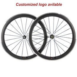 clincher alloy brake surface NZ - A pair 50mm clincher 23mm width alloy brake carbon wheelset 3k aluminum surface brake with Novatec 271 Hub