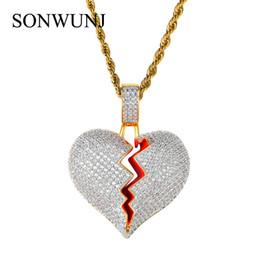 f6bcaf19d10f Bling bling Hip Hop corazón colgante de cobre micro pavé con piedras CZ  Collar Joyería para hombres y mujeres CN002
