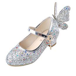 Blue Party Shoes For Girls Australia - Ulknn Baby Princess Girls Shoes Sandals For Kids Glitter Butterfly Low Heel Children Shoes Girls Party Enfant Meisjes Schoenen Y19051303