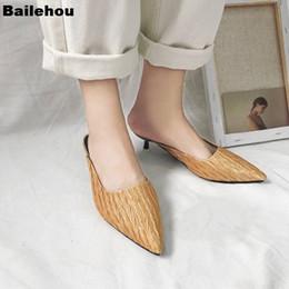 orange slingback shoes 2019 - Women Heel Slipppers Fashion Pleated Women Shoes Slip On Slides Pointed Toe Low Heel Mules Slingback Sandals Brand Slipp