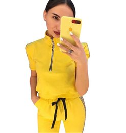 $enCountryForm.capitalKeyWord Australia - Fashion Tracksuit Yellow Blue Women Sport Suits Panelled short sleeves T shirt Sweatshirt Casual Jogging Sportswear lady Two piece set