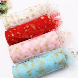 Dress craft fabrics online shopping - 10 Yards cm Width Gold Star Print Tissue Tulle Roll Fabric Spool Craft DIY Tutu Dress Organza Baby Shower Party Supplies