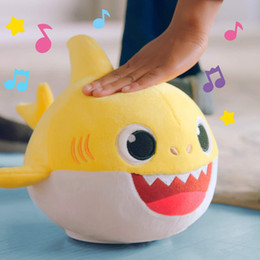 Dance Sing Toy Australia - 30CM BABY SHARK Plush Toys Electric Funny 12inch Cute Kids Baby Shark Singing 3 English Songs Dancing Walking Dolls 12'' Soft For Toddler