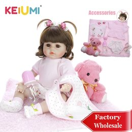 $enCountryForm.capitalKeyWord Australia - Keiumi 18''reborn Baby Girl Adorable Soft Silicone Reborn Baby Dolls Birthday Gifts Fashion Stuffed Doll Toys With Bear Playmate MX190801